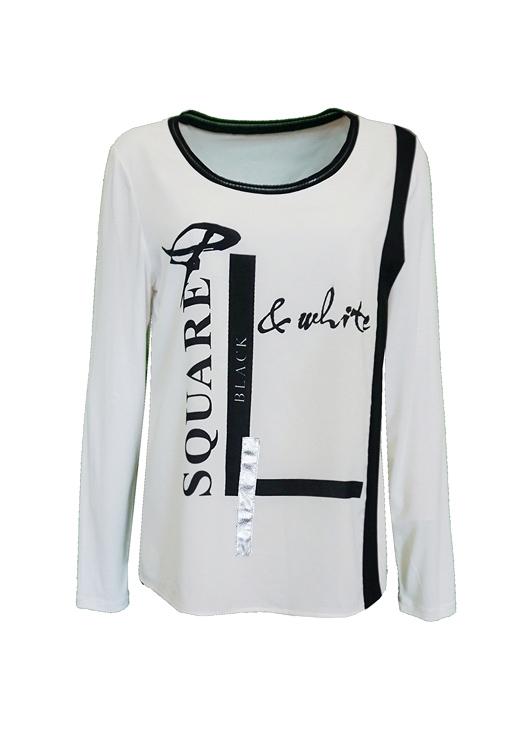- Baskılı Siyah Beyaz Bluz
