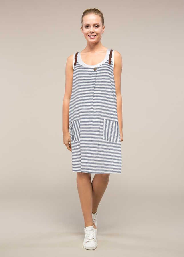 - Deri Askılı Çizgli Hamile Elbisesi Tinky