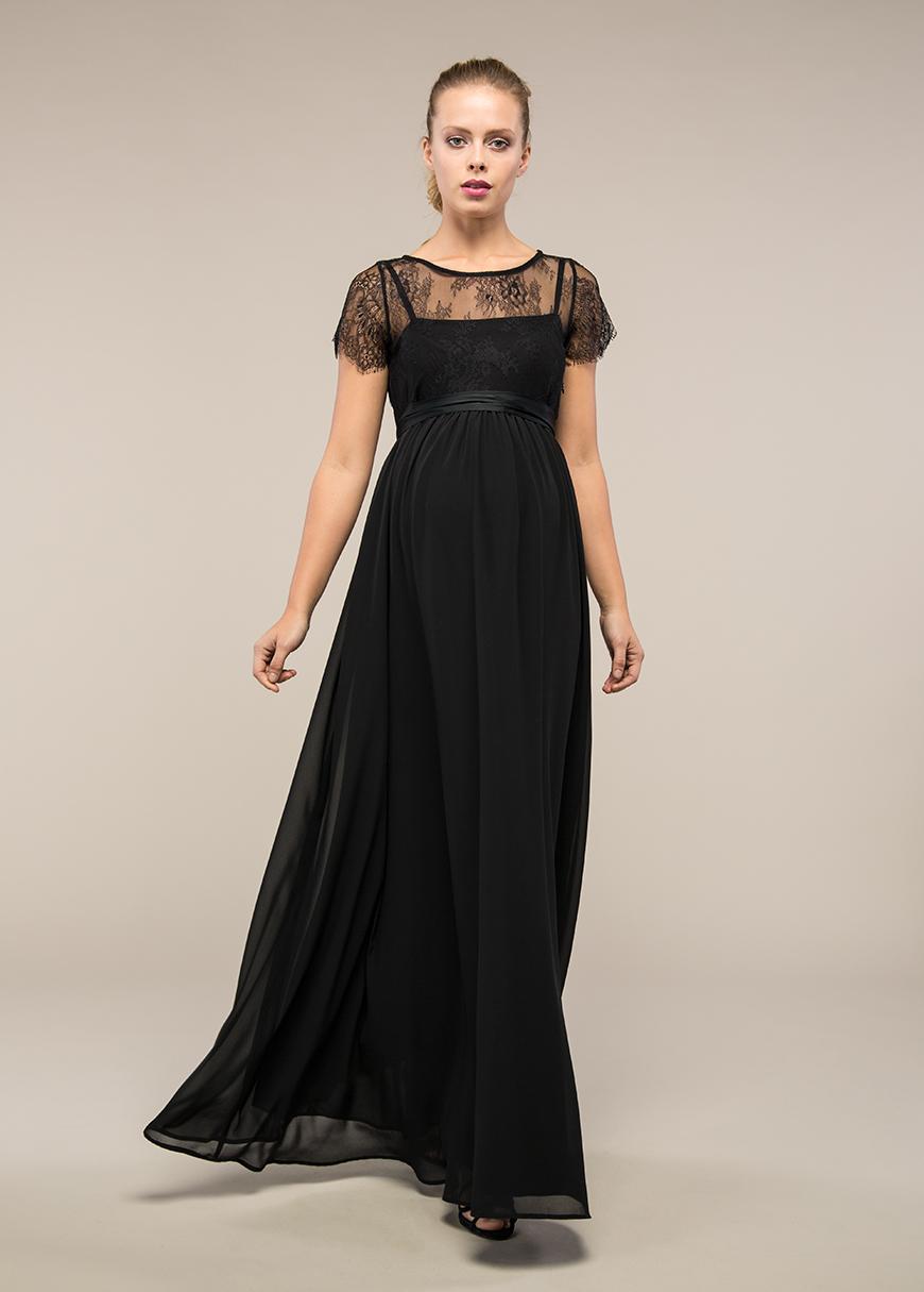 - Dantelli Uzun Hamile Abiye Elbisesi Lila