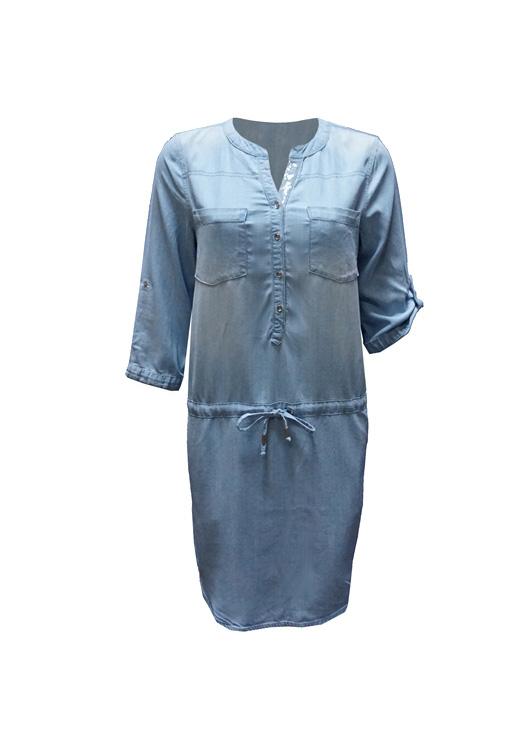 - Pul Detaylı Kot Elbise