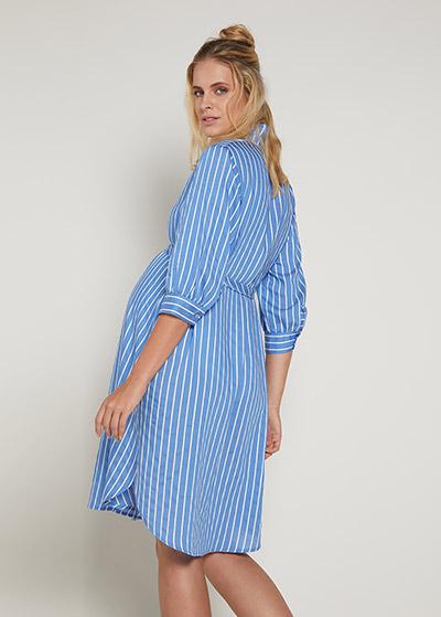 Çizgili Hamile Gömlek Elbisesi Ditsy - Thumbnail