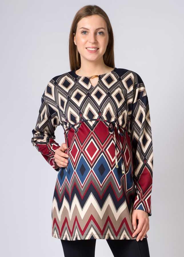 - Geometrik Bakla Desenli Hamile Tuniği Bianco