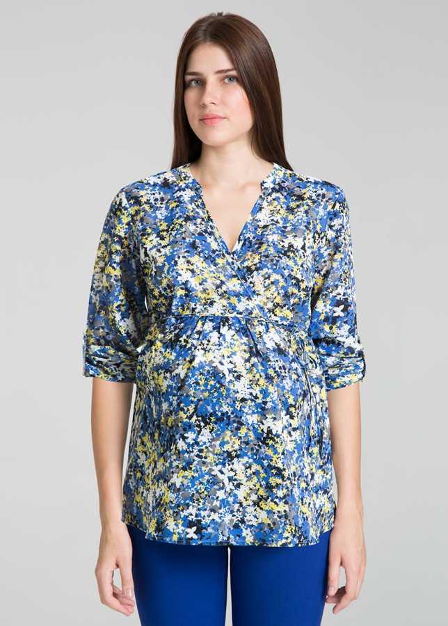 - Çiçek Desenli Kruvaze Hamile Bluz Drop