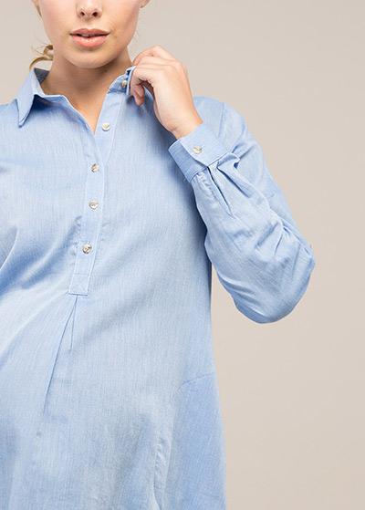 Kolları Kıvrılabilen Hamile Tuniği Oxford - Thumbnail