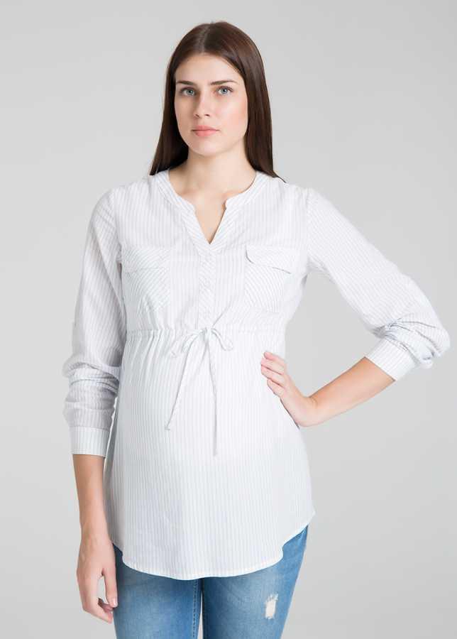 - Çizgili Poplin Hamile Bluzu Ramona