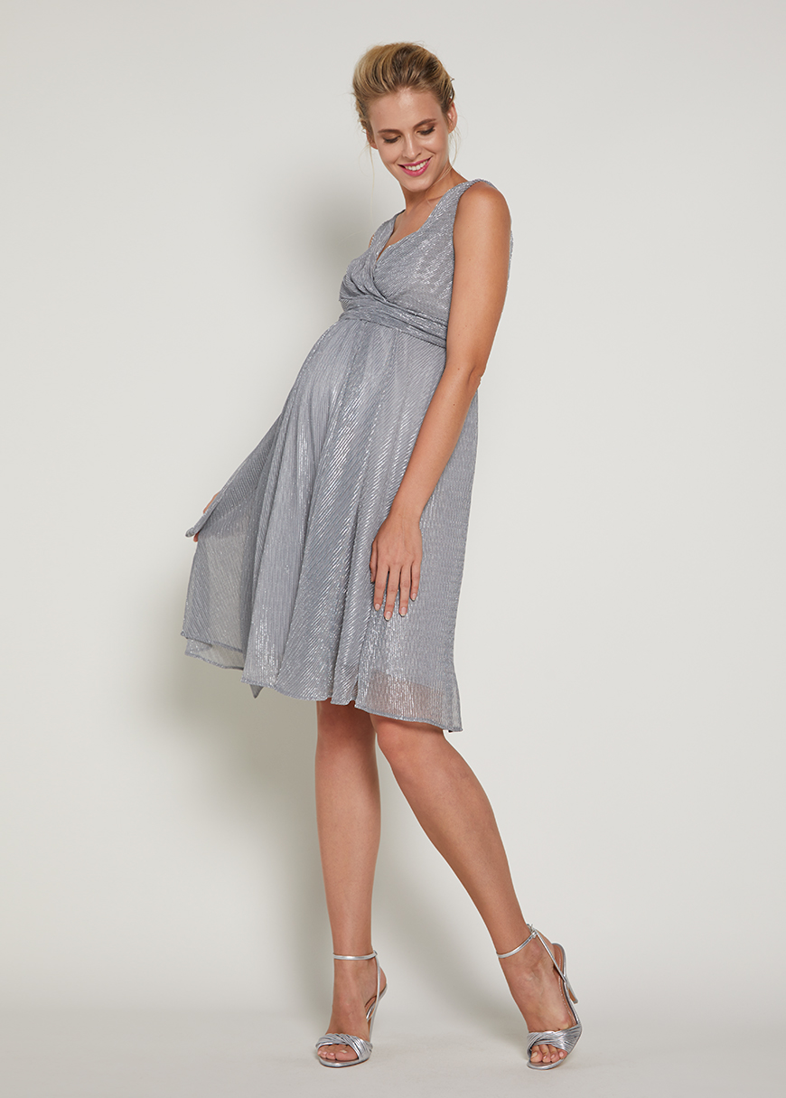 - Parlak Kumaşlı Abiye Hamile Elbisesi Grey