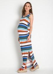 Renkli Uzun Hamile Elbisesi Piena - Thumbnail
