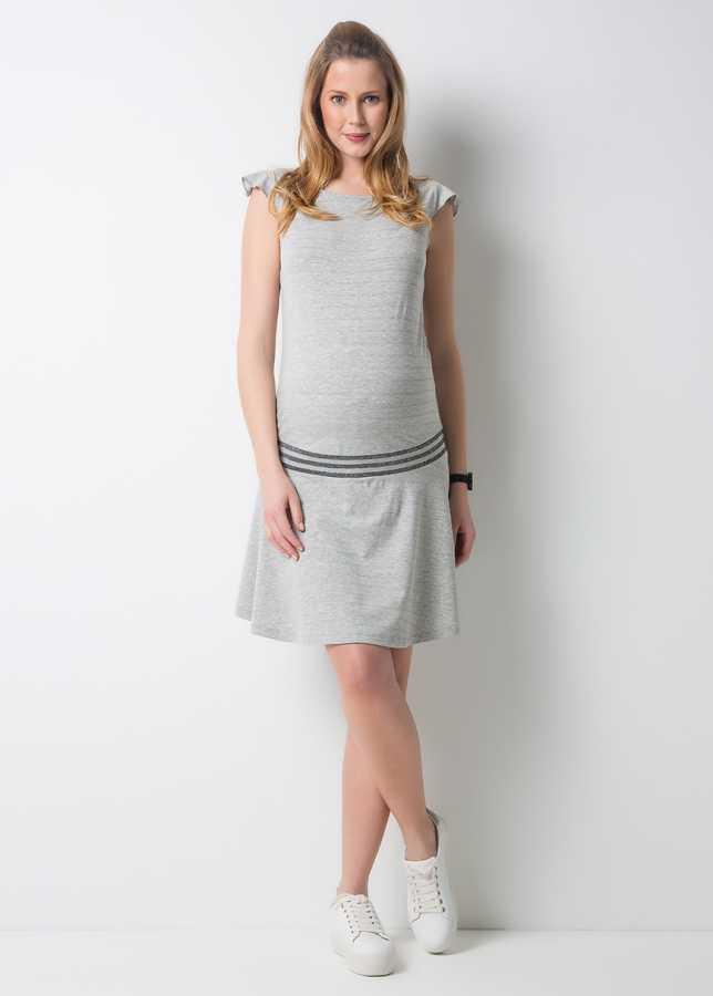 - Penye Spor Hamile Elbisesi Silver