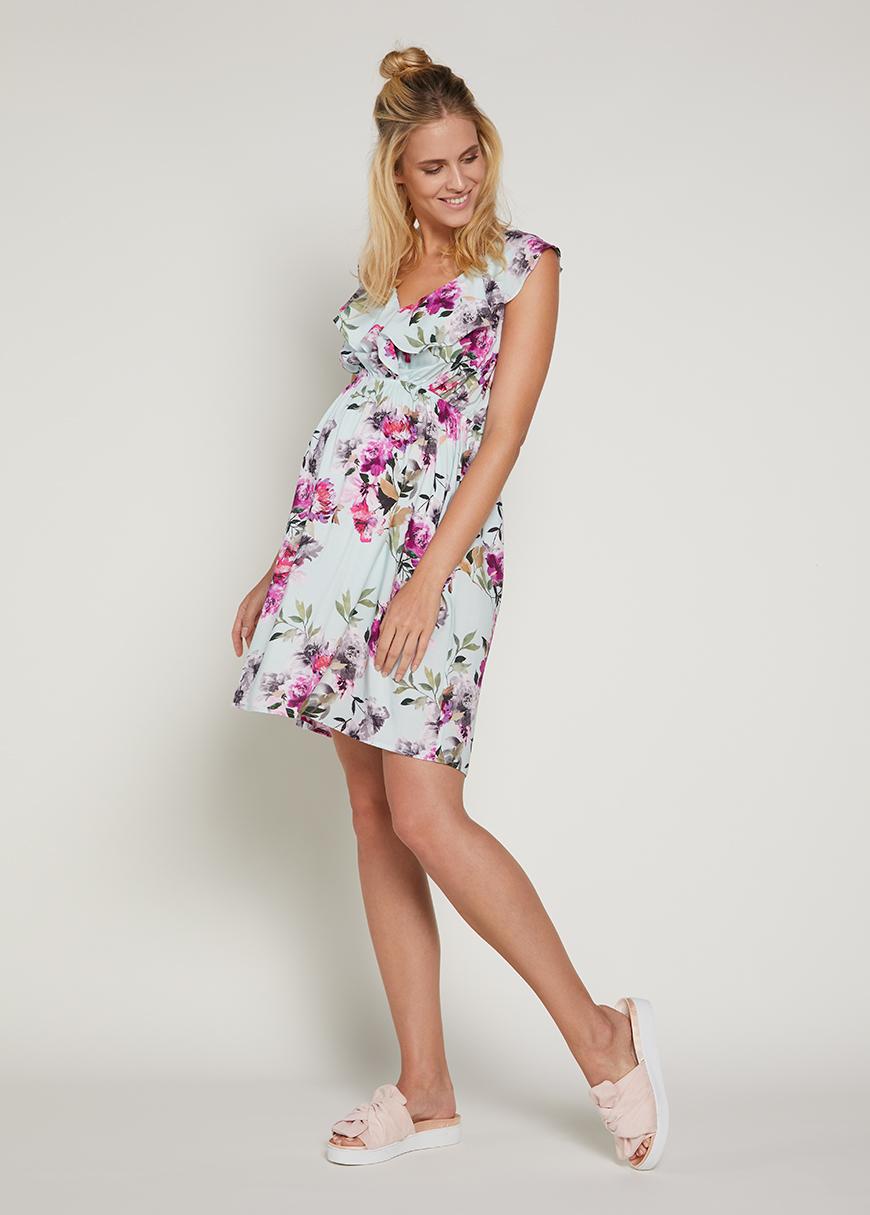 Volanlı Hamile Elbisesi Flora