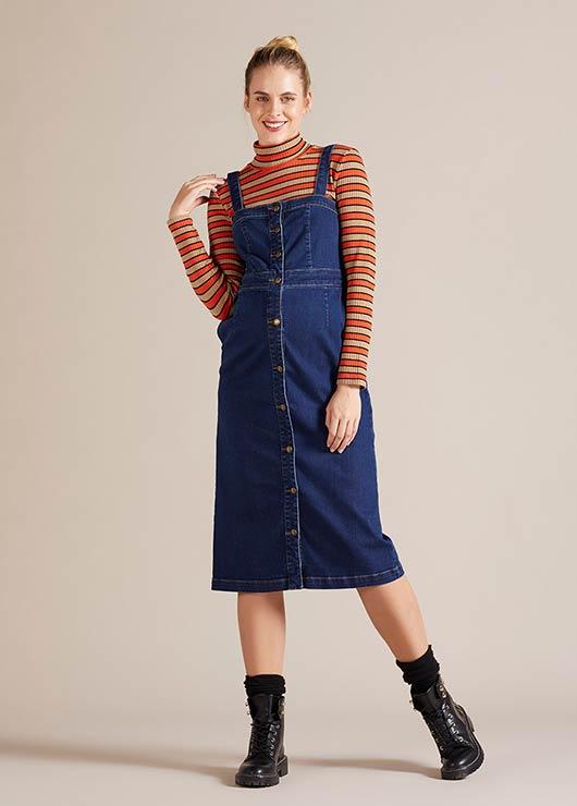 - Askılı Jean Hamile Elbisesi Tibet