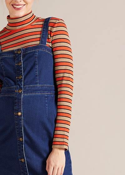 Askılı Jean Hamile Elbisesi Tibet - Thumbnail