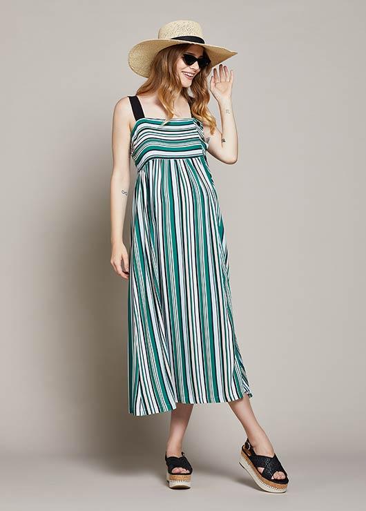 - Çizgili Ayarlanabilir Askılı Hamile Elbisesi Botanic