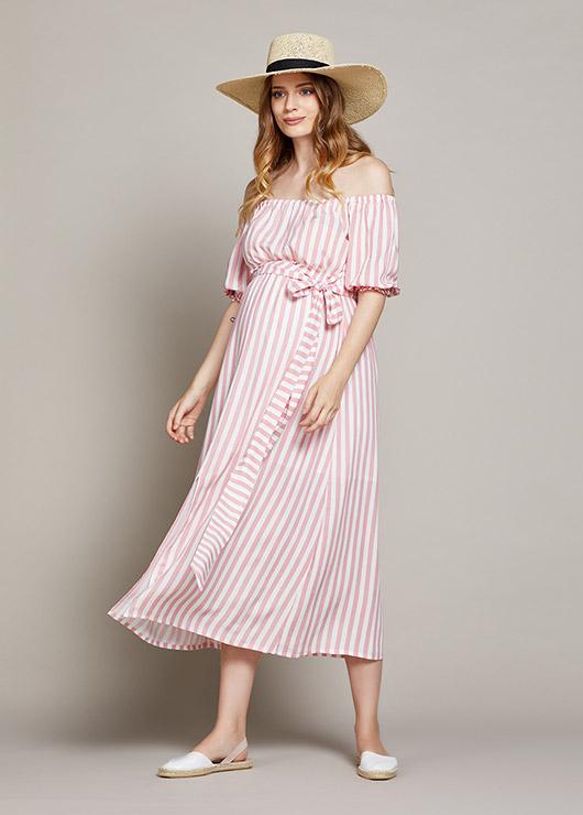 - Belden Bağlamalı Çizgili Hamile Elbisesi Tokyo