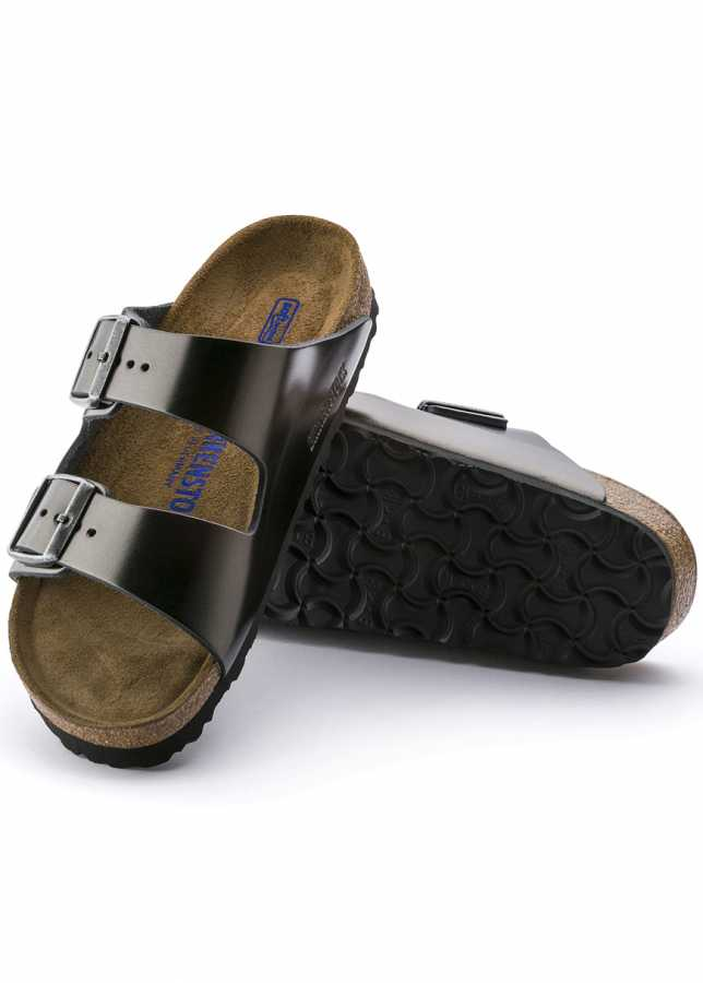 - Birkenstock Arizona Metallic Anthracite Natural Leather Regular Soft Footbed (1000292)