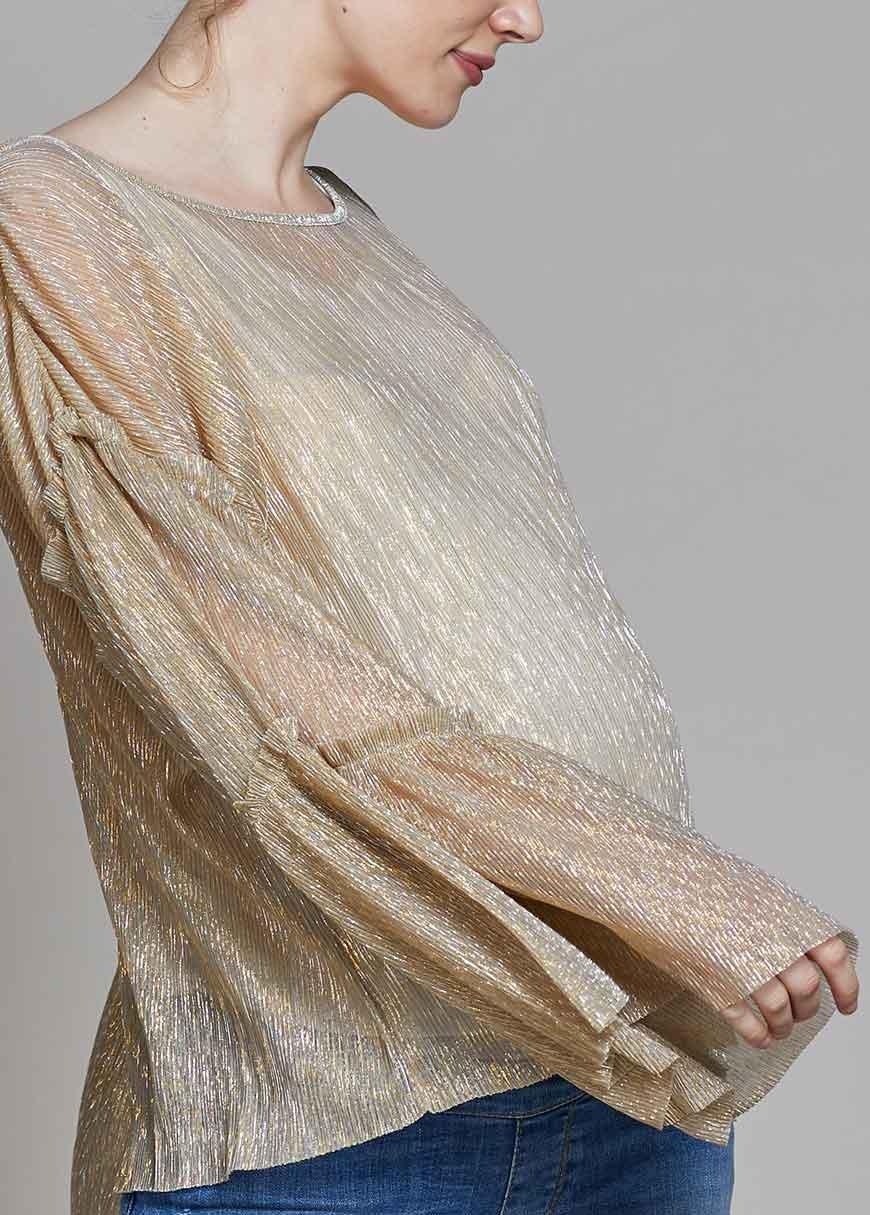 Kolları Volanlı Dore Işıltılı Bluz Golden