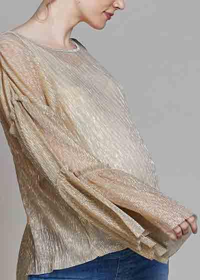 Kolları Volanlı Dore Işıltılı Bluz Golden - Thumbnail
