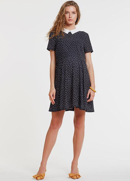 - Bluzlu ve Kruvaze Yaka İç Elbiseli Hamile Elbisesi Dress Paris