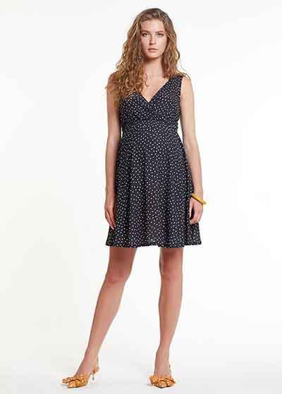 Bluzlu ve Kruvaze Yaka İç Elbiseli Hamile Elbisesi Dress Paris - Thumbnail