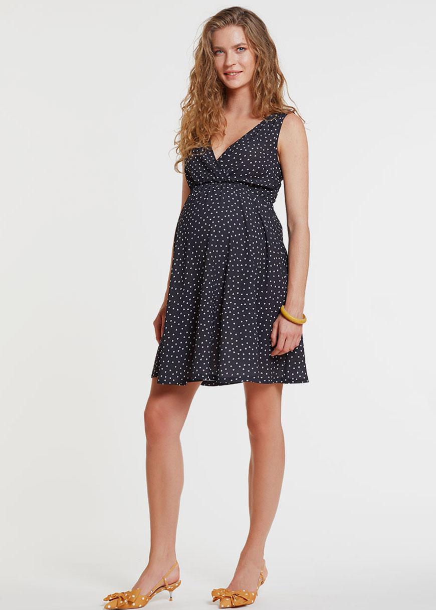 Bluzlu ve Kruvaze Yaka İç Elbiseli Hamile Elbisesi Dress Paris