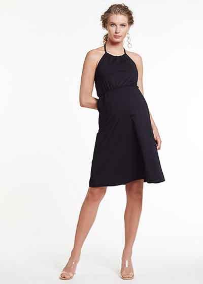 Boyundan Bağlamalı Siyah Hamile Elbisesi Della - Thumbnail