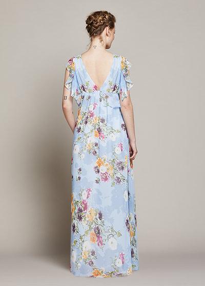 Çiçek Desenli Uzun Hamile Elbisesi Spring - Thumbnail