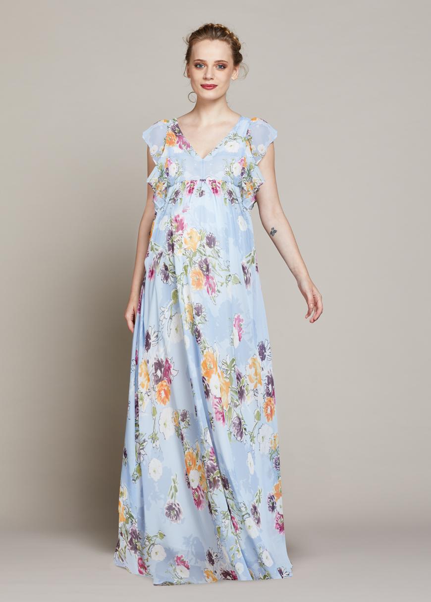 Çiçek Desenli Uzun Hamile Elbisesi Spring
