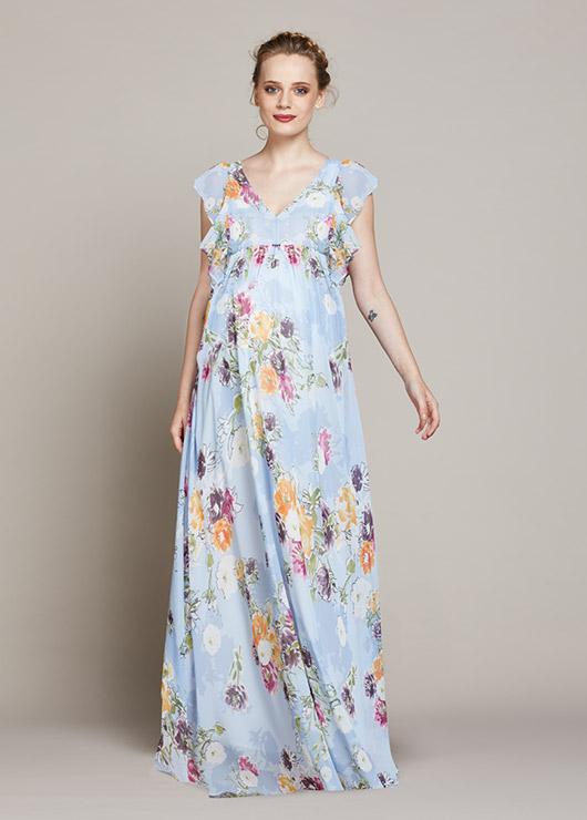 24b4519591395 Çiçek Desenli Uzun Hamile Elbisesi Spring