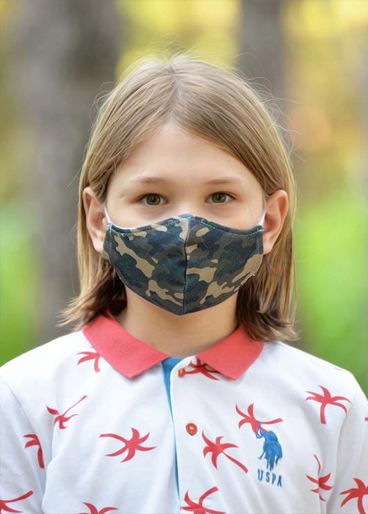 - Çift Katlı Boyundan Asmalı Yıkanabilir Bez Çocuk Maskesi