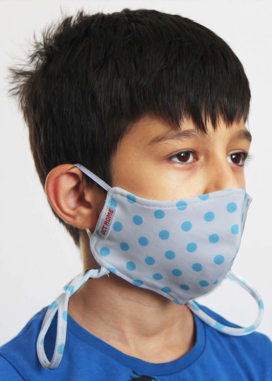 Çift Katlı Boyundan Asmalı Yıkanabilir Bez Çocuk Maskesi