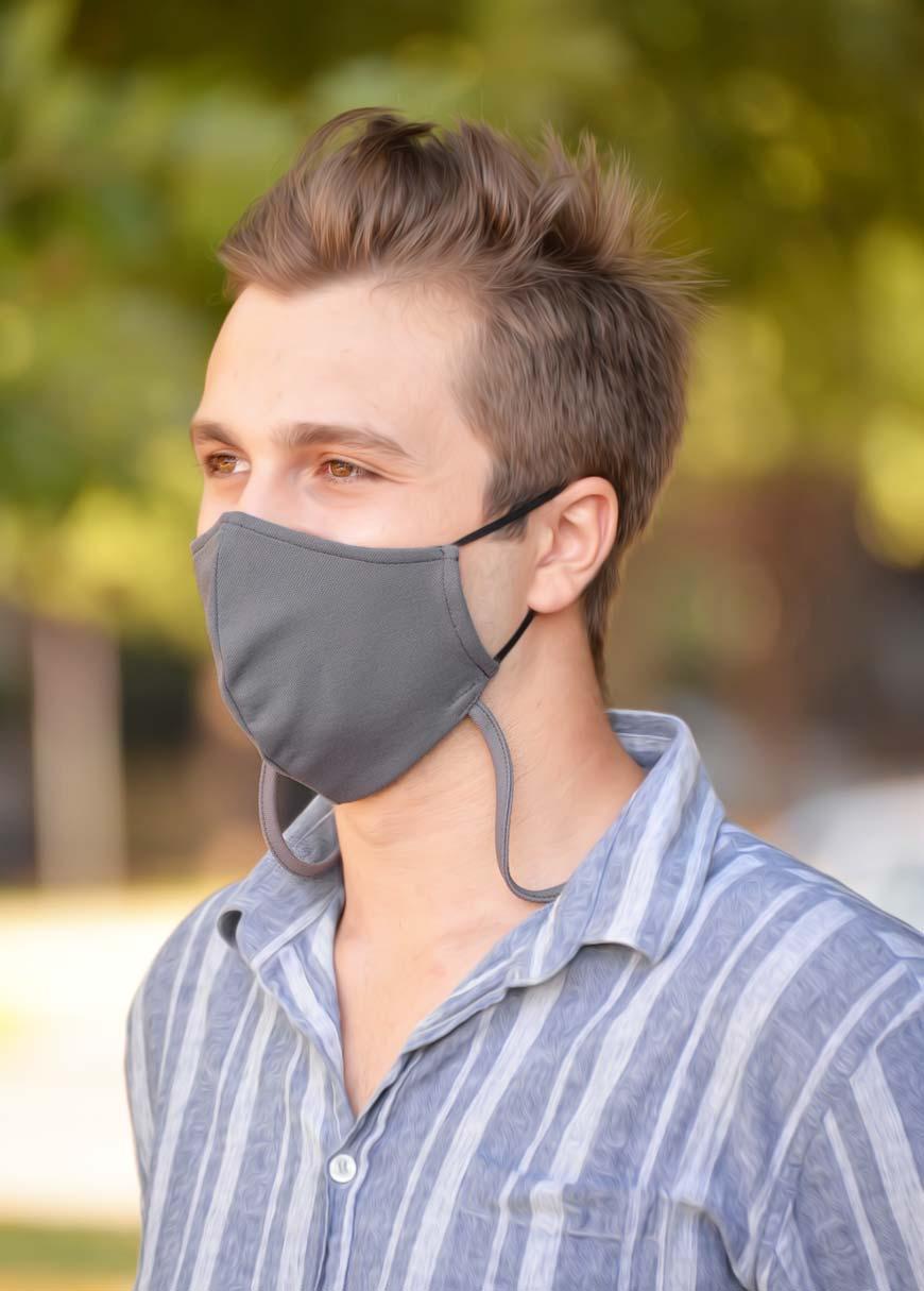 Çift Katlı Boyundan Asmalı Yıkanabilir Bez Erkek Maskesi