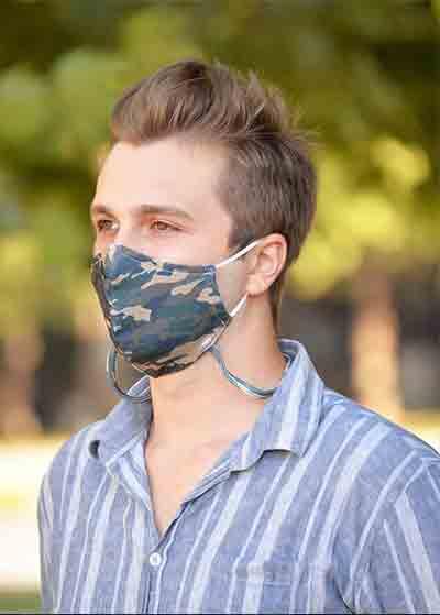 Çift Katlı Boyundan Asmalı Yıkanabilir Bez Erkek Maskesi - Thumbnail