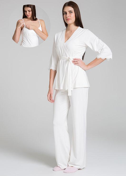 - Emzirme Özellikli 3 Parça Hamile Pijama Seti Sonia