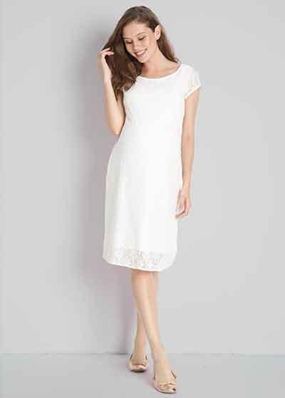 Dantelli Beyaz Hamile Abiye Elbisesi Beliz - Thumbnail
