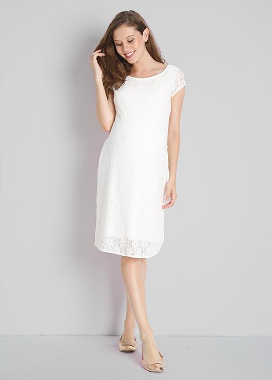 - Dantelli Beyaz Hamile Abiye Elbisesi Beliz