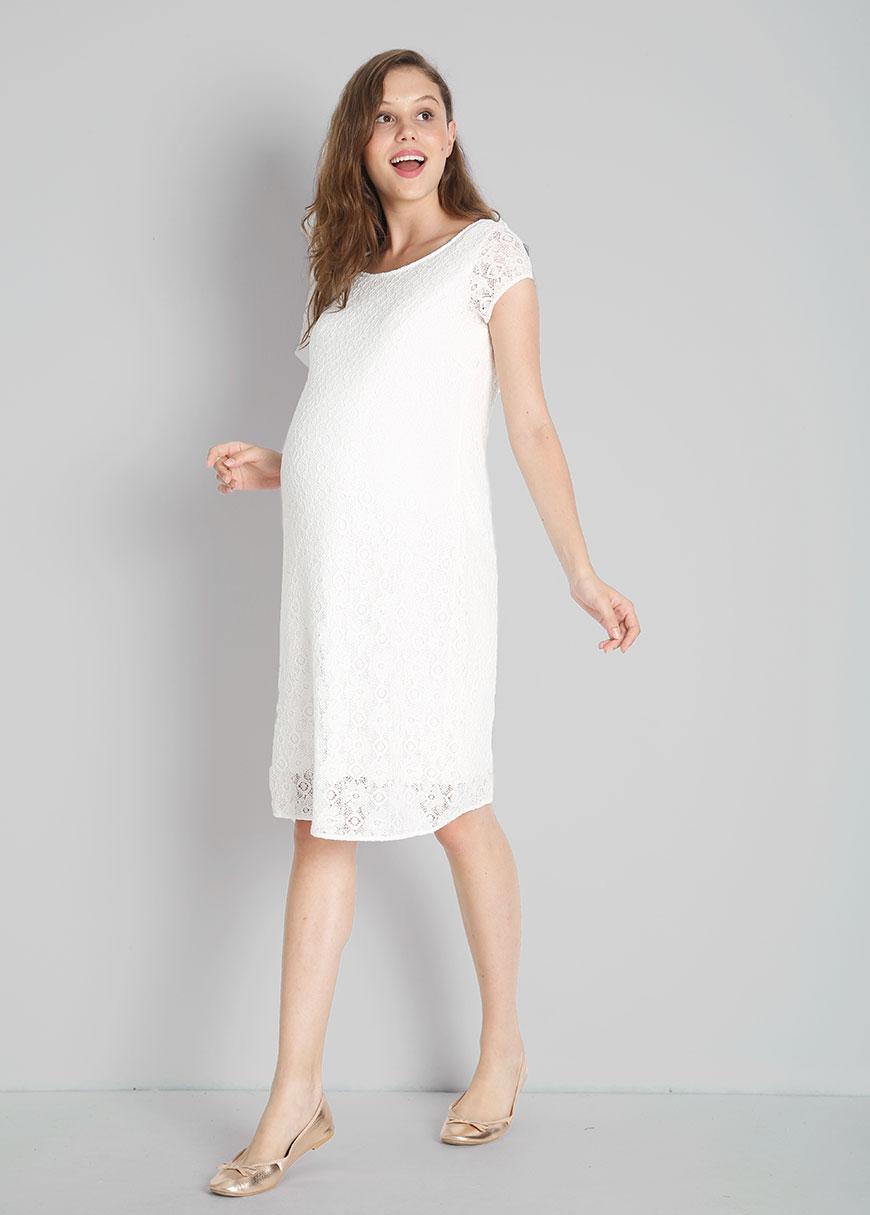 Dantelli Beyaz Hamile Abiye Elbisesi Beliz