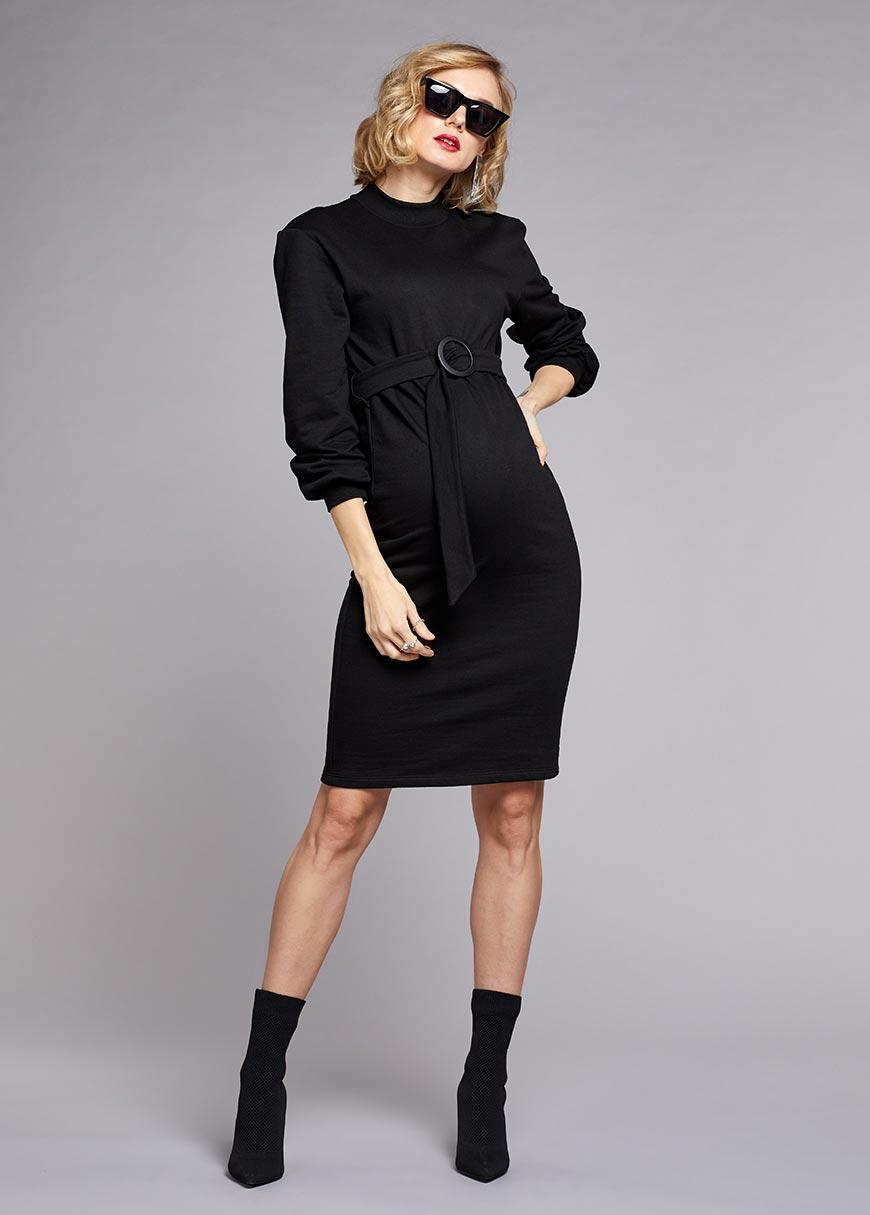 Dik Yakalı Kemerli Elbise Sporty
