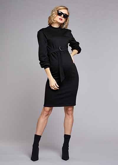 Dik Yakalı Kemerli Elbise Sporty - Thumbnail