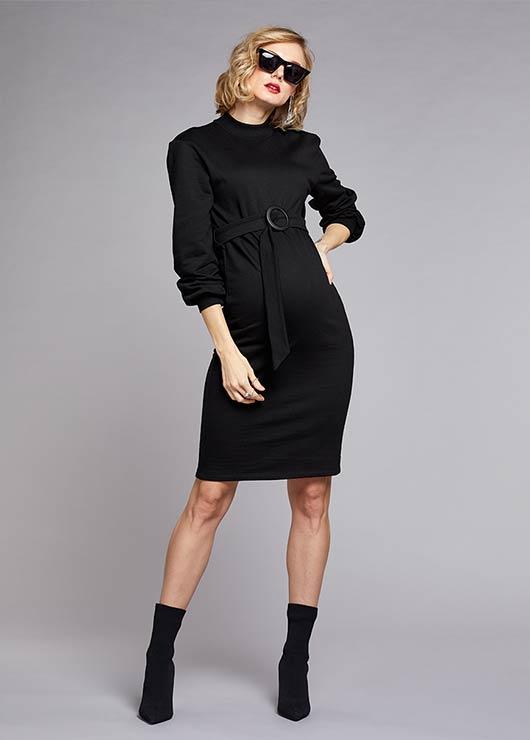 - Dik Yakalı Kemerli Elbise Sporty