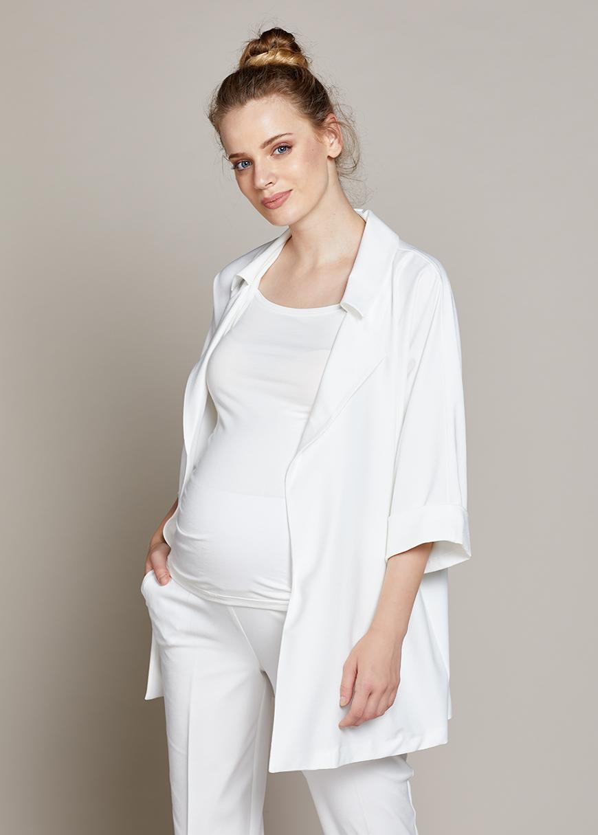 Dökümlü Uzun Hamile Ceketi Mina