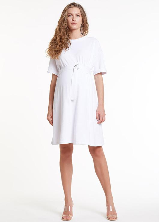 - Yarım Kollu Beyaz Örme Hamile Elbisesi Dress Australia