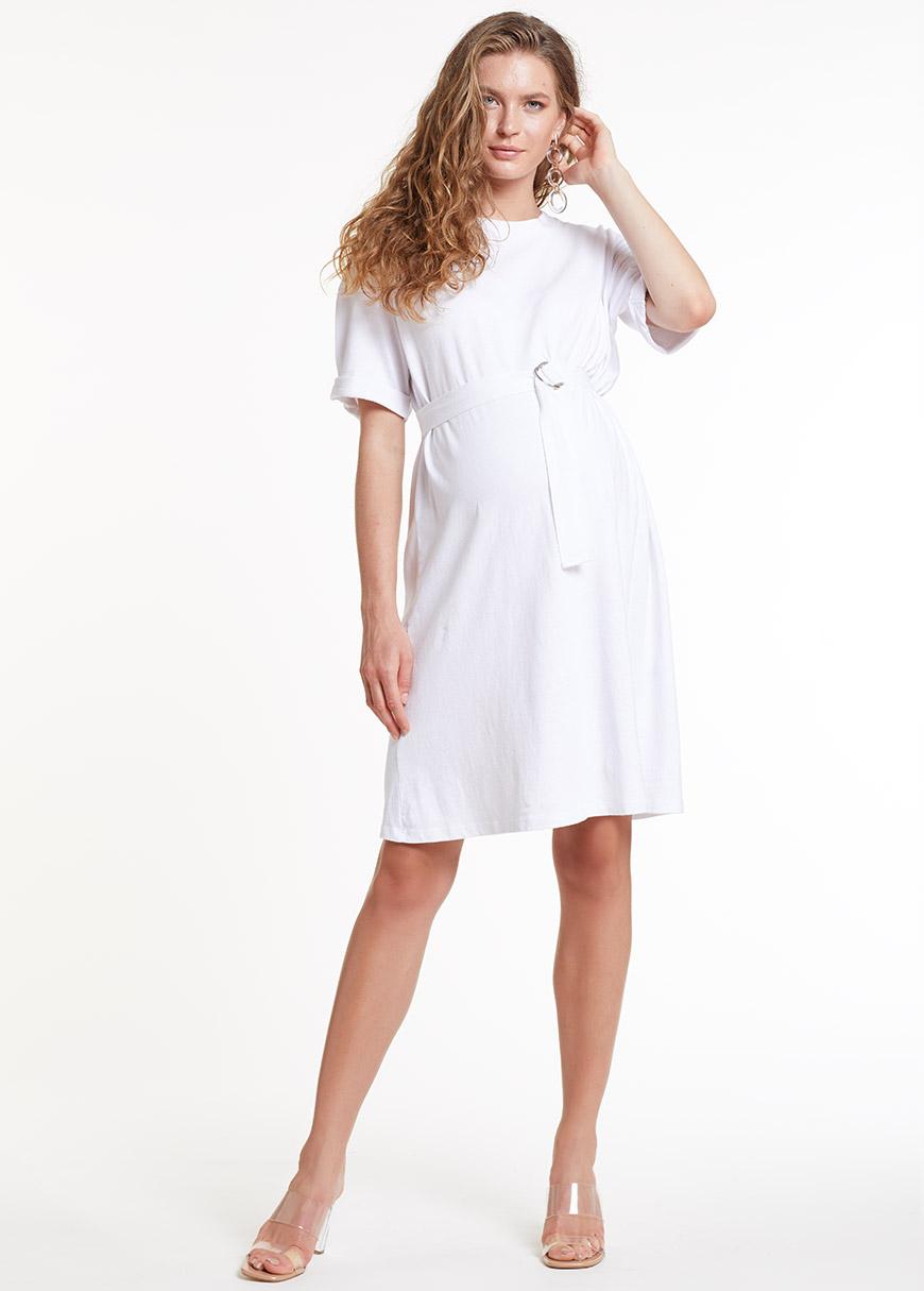 Yarım Kollu Beyaz Örme Hamile Elbisesi Dress Australia