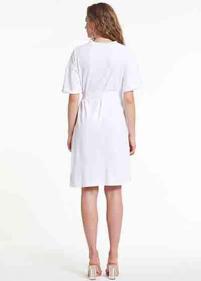 Yarım Kollu Beyaz Örme Hamile Elbisesi Dress Australia - Thumbnail
