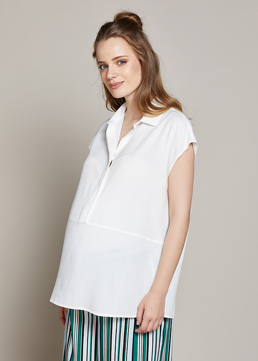 - Düşük Kol Hamile Gömleği Enrica