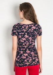 Emzirme Özellikli Çiçek Baskılı Hamile Bluzu Cell - Thumbnail