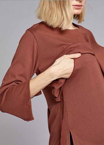 Emzirme Özellikli Bağlamalı Bluz Tie-A - Thumbnail