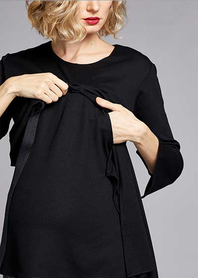 Emzirme Özellikli Bağlamalı Bluz Tie - Thumbnail