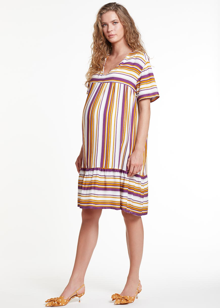 Kısa Kollu Emzirme Özellikli Hamile Elbisesi Dress Romania