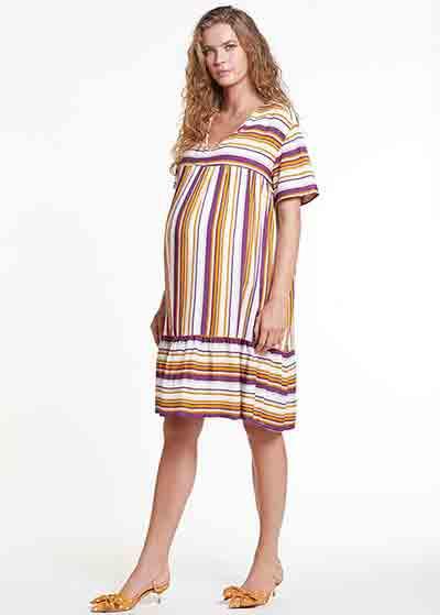 Kısa Kollu Emzirme Özellikli Hamile Elbisesi Dress Romania - Thumbnail