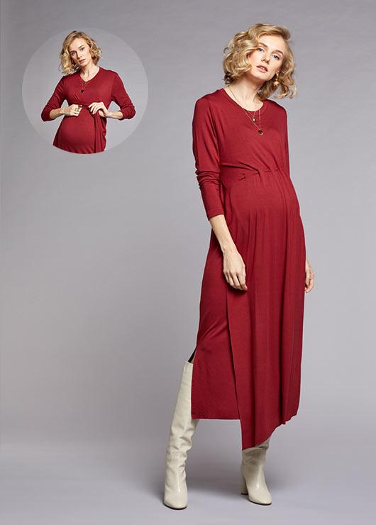 - Emzirme Özellikli Uzun Hamile Elbisesi Sophia