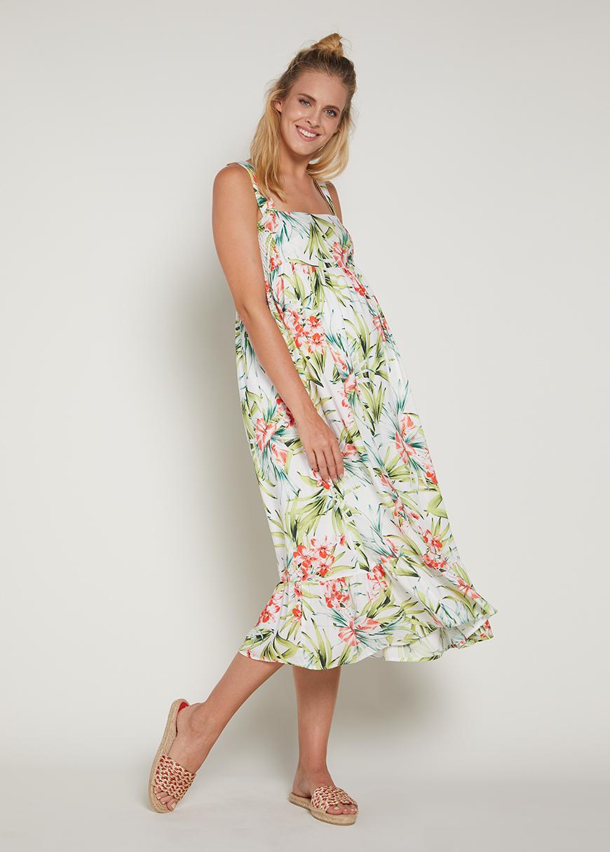 Eteği Fırfırlı Uzun Hamile Elbisesi Elisa